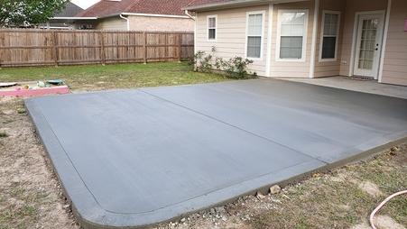 gray concrete patio bursh finish
